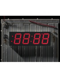 Red 7-segment clock display...